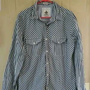 Express Men's Blue Checkered Long Sleeve L Shirt